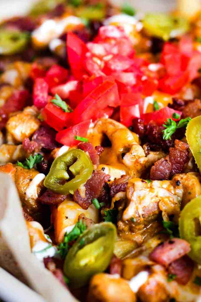 Close up of loaded fries.