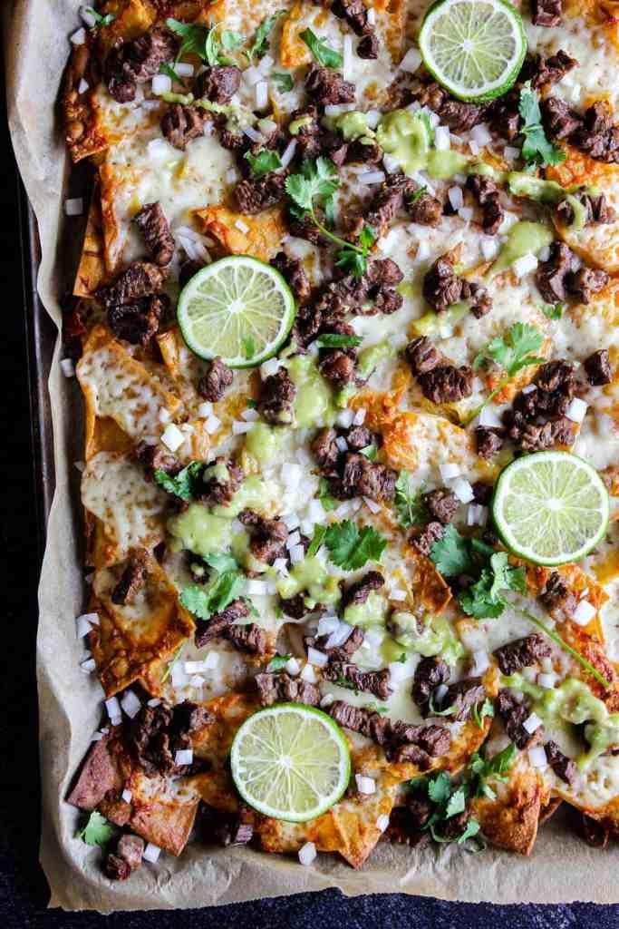 Top down shot of sheet pan with nachos