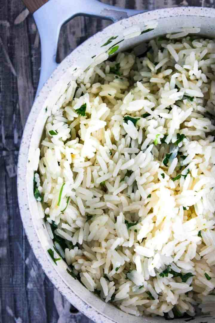 Cilantro lime rice in a sauce pan.
