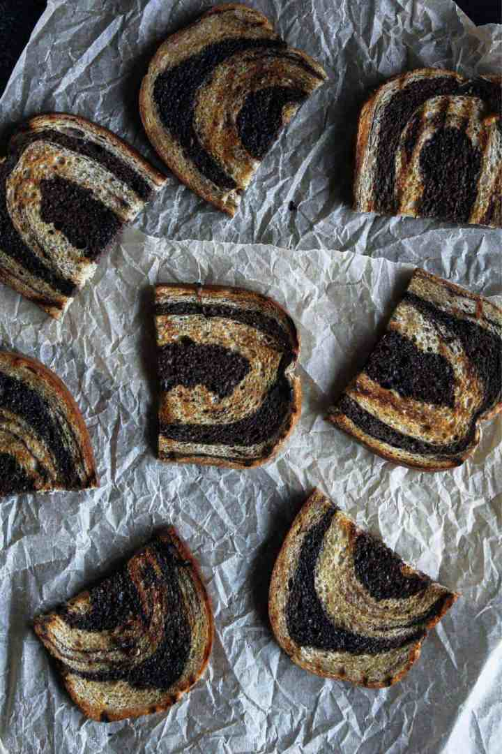 Toasted marble Rye bread.