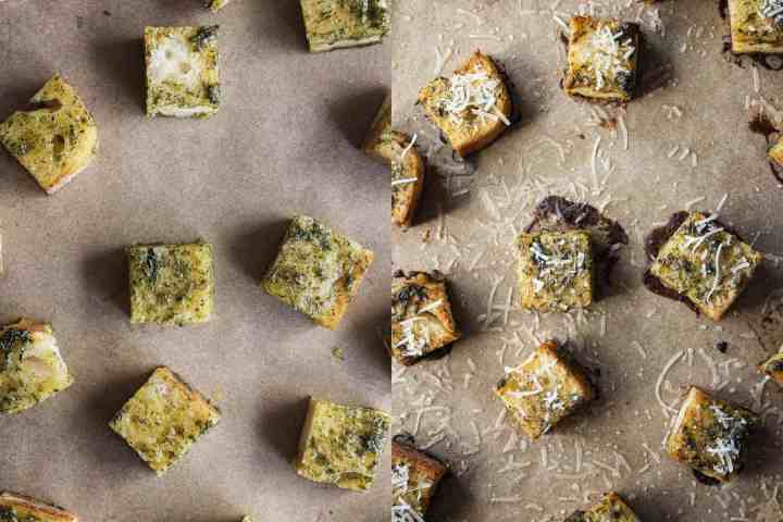 Croutons before and after baking.