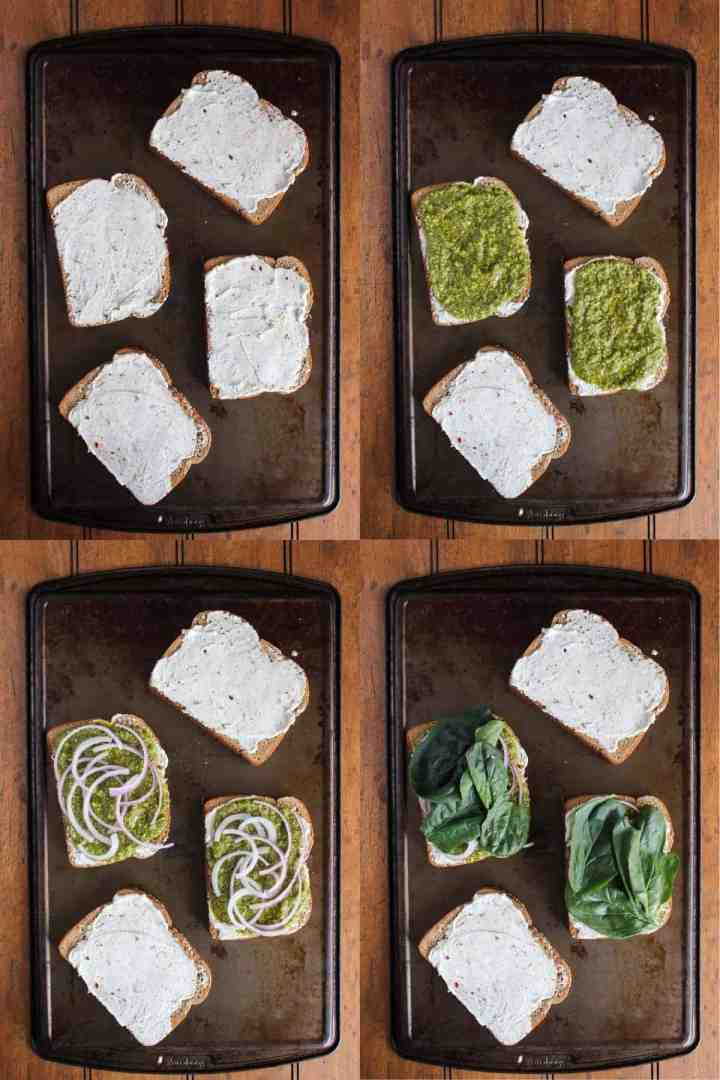 Four stages of sandwich assembly.