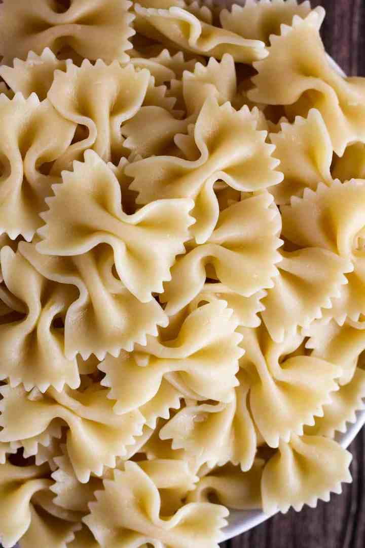 Cooked farfalle noodles.