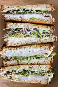 Stacked sandwich halves.