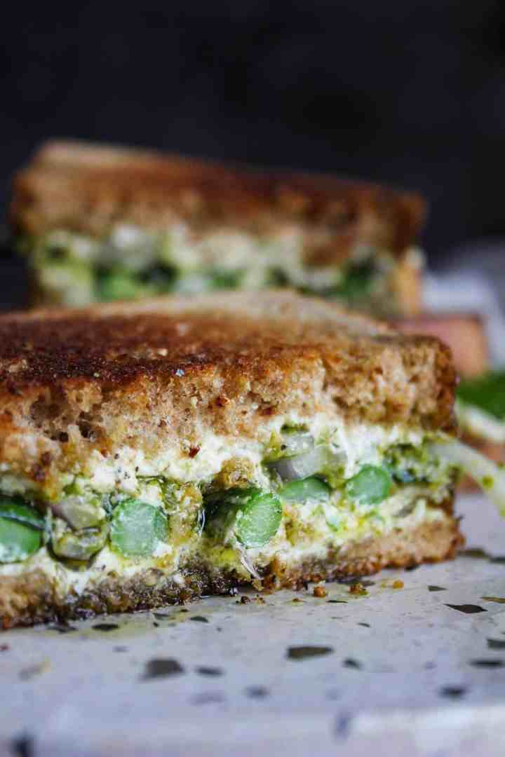 Close up of goat cheese sandwich.