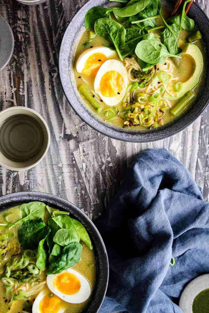 Close up of two bowls of ramen.