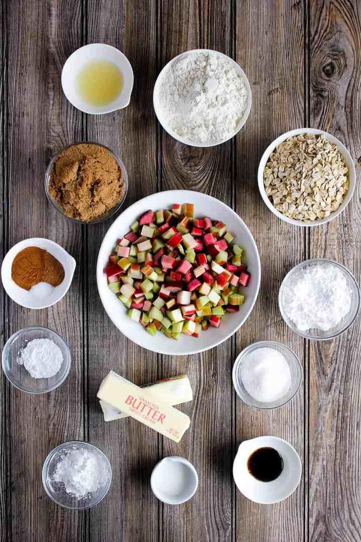 Ingredients for rhubarb oatmeal bars (see recipe card).