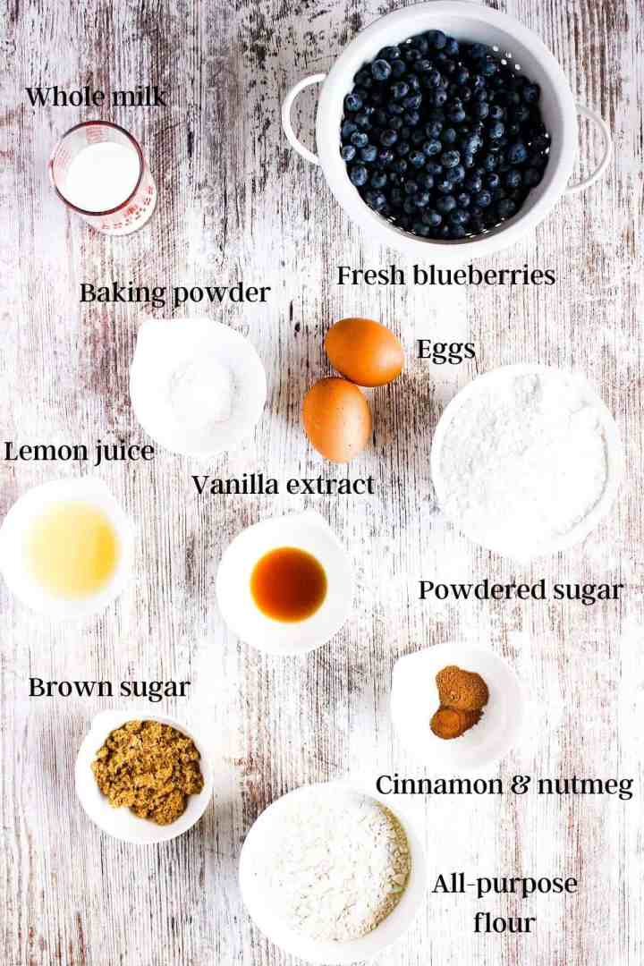 Ingredients for blueberry fritters with vanilla lemon glaze (see recipe card).
