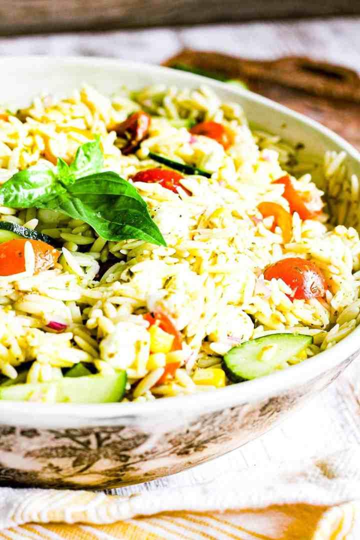 Close up of pasta salad.