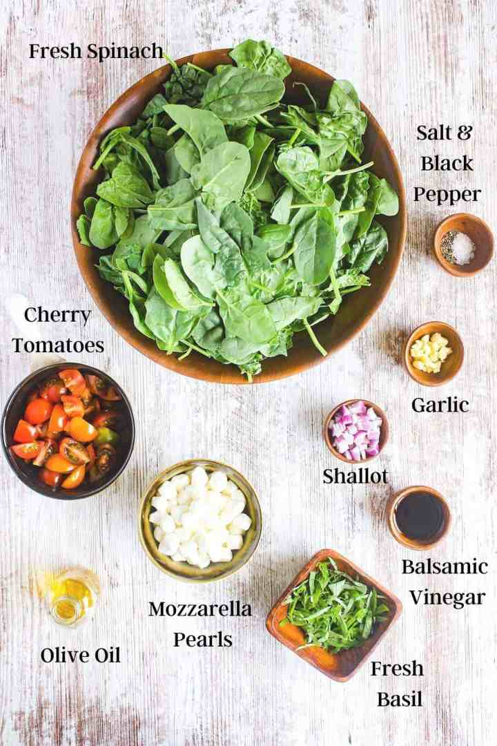 Ingredients for spinach caprese salad (see recipe card).