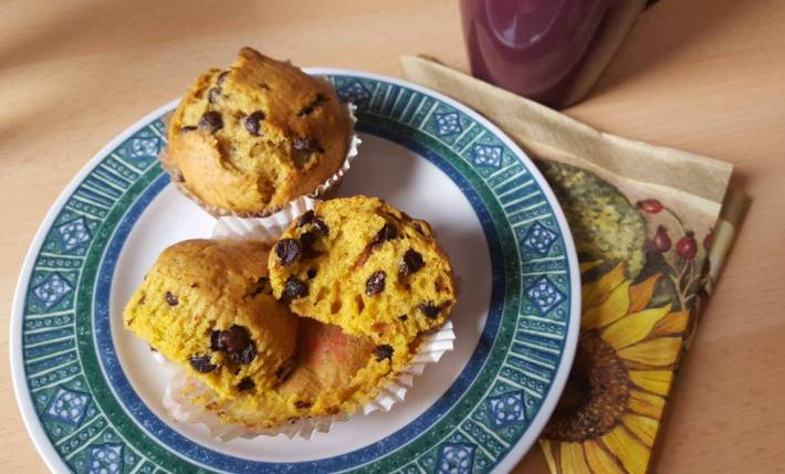 Chocolate Chip Muffins with Pumpkin purée
