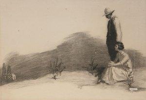 "William Henry Dethlef Koerner, Drawing for Lucky Devil, Charcoal on Paper, c. 1920, 19.5"" x 27.5"""