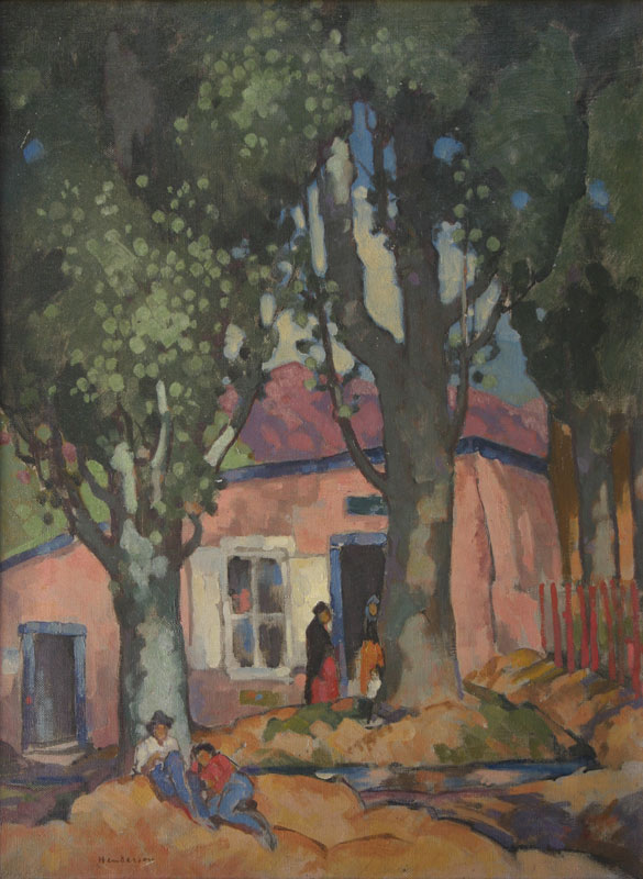 "William Penhallow Henderon, La Tienda Rosa, Oil on Canvas, c. 1920, 24"" x 18"""