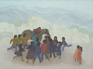 "Barbara Latham, Juan's New Horse, Acrylic on Canvas, 12"" x 16"""