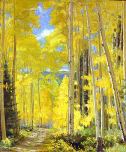 "Bert Geer Phillips, Aspens in Fall, Oil on Canvas, 20"" x 24"""
