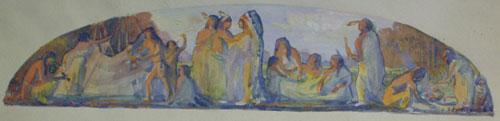 """Bert Geer Phillips, Mural Indian Sketch, Watercolor on Paper, 2"""" x 21"""""""
