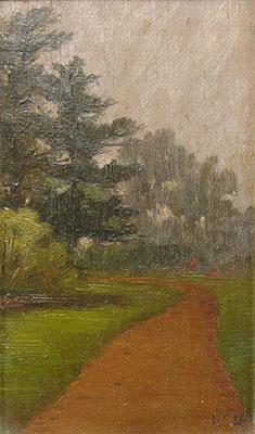 """Bertha Stringer Lee, Golden Gate Park, Oil, 8"""" x 4.75"""""""