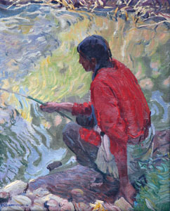 "E. L. Blumenschein, Taos Indian Fishing, Oil on Canvas, c. 1920, 20"" x 16"""