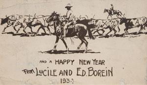 "Edward Borein, Merry X-mas and A Happy New Year card, c. 1930, 4.75"" x 7.75"""