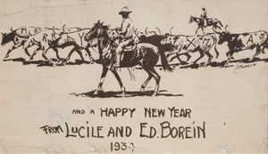 "Edward Borein, Merry X-mas and A Happy New Year card, c. 1930, 4.75"" x 7.75"""