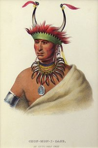 "Charles Bird King, Thomas Loraine McKenney, James Hall lithographic Print, Chon-Mon-I-Case, An Otto Half Chief, 9"" x 6"""