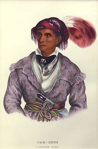 "Charles Bird King, Thomas Loraine McKenney, James Hall lithographic Print, Tah-Chee ,A Cherokee Chief, 9"" x 6"""