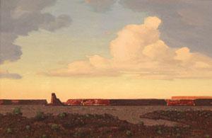 """Conrad Buff, Red Butte, Oil on Board, 23"""" x 35"""""""