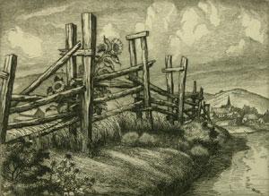 """Cornelis Botke, Road to Bodega, Etching, Circa 1930, 7"""" x 9"""""""