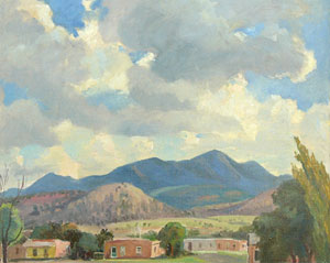 "Cornelis Botke, Ortiz Mountain, Oil on Canvas, Circa 1932, 16"" x 20"""