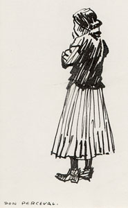 "Don Perceval, Indian Girl, Pen and Ink, 5"" x 3"" Pictured on page 81 of ""A Navajo Sketch Book"" by Don Perceval, 1962. Out of Print."