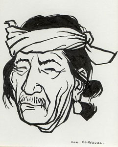 """Don Perceval, Indian Man, Pen and Ink, 5"""" x 4"""" Pictured on page 25 of """"A Navajo Sketch Book"""" by Don Perceval, 1962. Out of Print."""