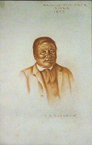 """E. A. Burbank, Rain in the Face Sioux - 1897 Conte Crayon on Paper, 14"""" x 9"""""""