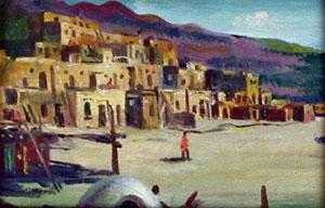 "E. A. Burbank, Taos Indian Village, Oil on Canvas on Board, 4"" x 6"""