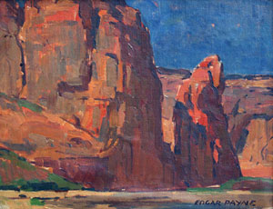 "Edgar Payne, In Canyon de Chelly, Oil on Canvas Board, Circa 1920, 10"" x 14"""