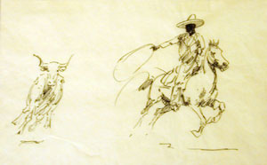 "Edward Borein, Big Cowboy / Steer, Ink on Paper, 7"" x 11"""
