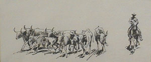 "Edward Borein, The Roundup, Pen and Ink, 3"" x 7"""