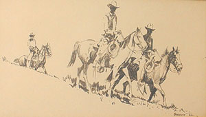 "Edward Borein, Three Riders, Ink on Paper, 6"" x 10"""