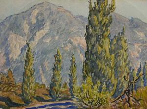 "Elliot Torrey, Pomona Valley near Alhambra, Watercolor, 10-5/8"" x 15-1/4"""