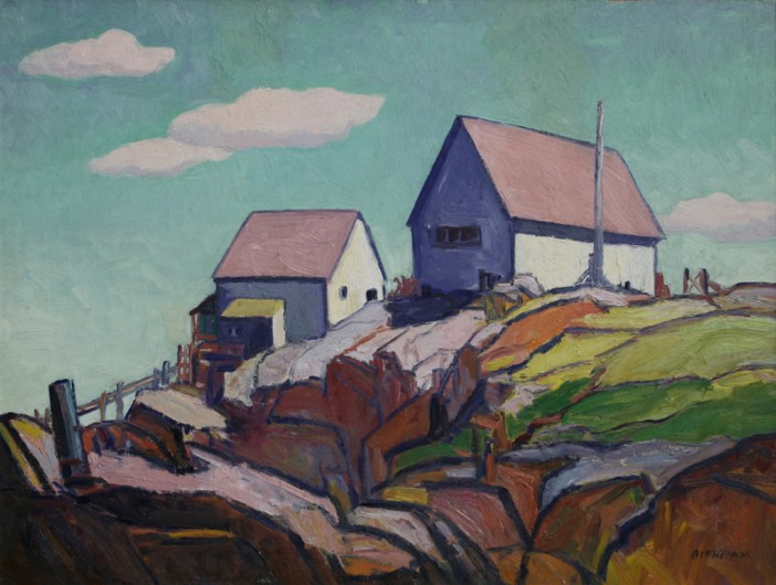 """Emil Bisttram, Top of the Hill, Circa 1940-50, Oil on Board, 25"""" x 33"""""""