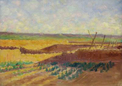 "Frank Reed Whiteside, Zuni Village Garden, Oil on Canvas, 10"" x 13"""