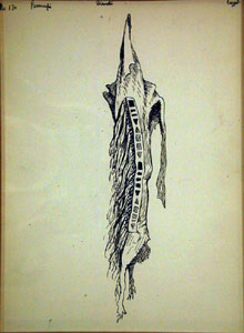 "Frederic Remington, Legging, Ink on Paper, c. 1889, 10"" x 7"""