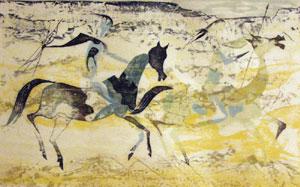 "Frederick O'Hara, Riders, Woodcut, 14"" x 22"""