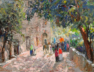 "Fremont Ellis, Fiesta Day, Oil on Board, Circa 1960-70, 20"" x 25"""