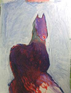"Fritz Scholder, Dream Horse B, Oil on Paper, circa 1986, 40"" x 31"""