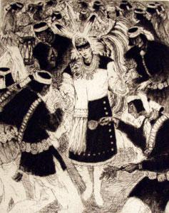"Gene Kloss, Kereson Dancers, Etching 22/50, 14"" x 11"""