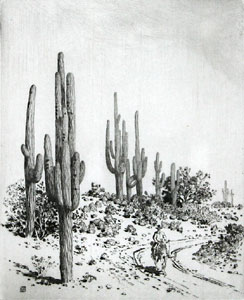 "George E. Burr, Road to Apache Reservation, Arizona, Drypoint, Circa 1920, 10"" x 8"""