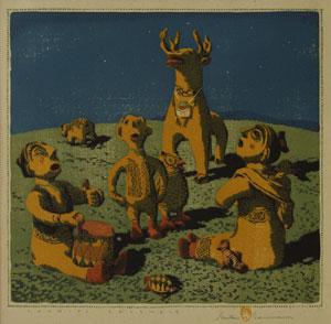 """Gustave Baumann, Cochiti Ensemble 3/125, Woodblock print, 13.5"""" x 14"""""""