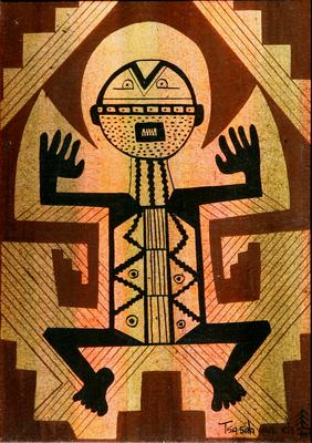 "Helen Hardin, Petroglyph, Acrylic on Panel, 7"" x 5"""