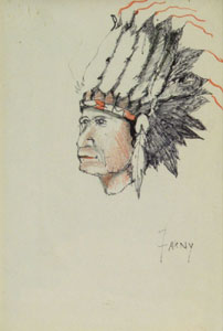 """Henry Farny (1847-1916) Indian Chief, Graphite and Colored Pencil, 6"""" x 4"""""""