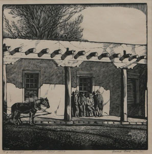 "Howard Cook, For Lee Simpson, Governor's Palace Santa Fe, Woodcut, c. 1927, 8"" x 8"""